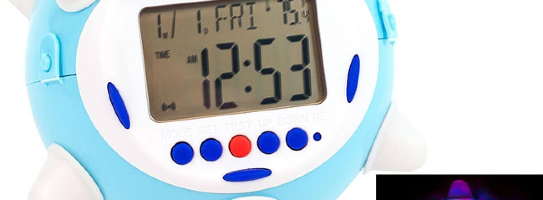 Reloj despertador que brilla, salta y suena