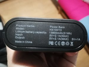 Especificaciones Power Bank HX100Y3