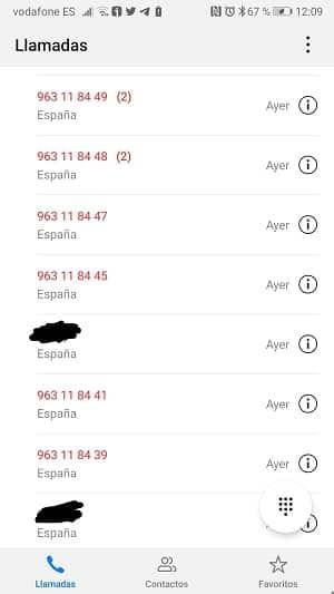 Llamadas perdidas RETENCIONES Vodafone