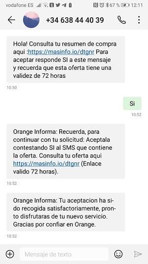 Captura SMS confirmación portabilidad