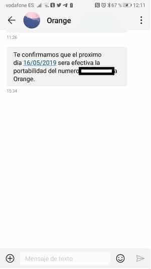 SMS Fecha portabilidad