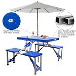 Mesa plegable camping con sombrilla